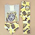 2016 Verão de 3 pcs Crianças Menino Infantil T-shirt Top + calças Curtas Roupa Do Bebê definir Conjuntos de Roupas cavalheiro da Cópia Do Tigre conjunto