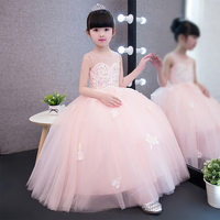 100 Real Photos Pink Lace Flowers Girl Dresses For Weddings 2017 Summer Kids Prom Princess Dresses