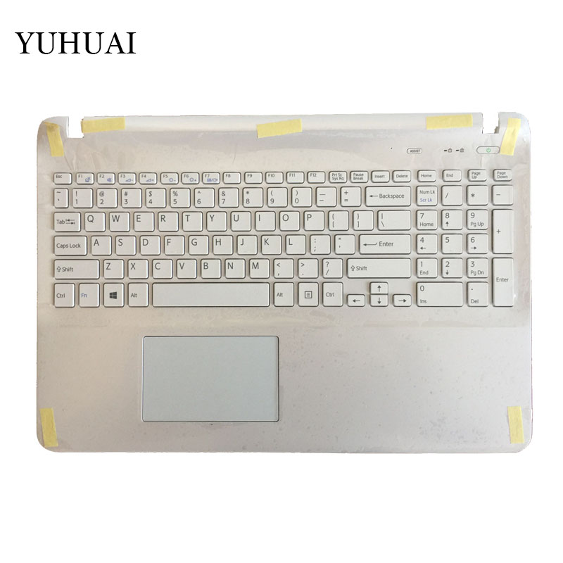 US Laptop keyboard for sony Vaio SVF15 FIT15 SVF151 SVF152 SVF153 SVF1541 SVF15E white with Palmrest Cover Touchpad mac large shader 252 кисть для пудры скошенная large shader 252 кисть для пудры скошенная