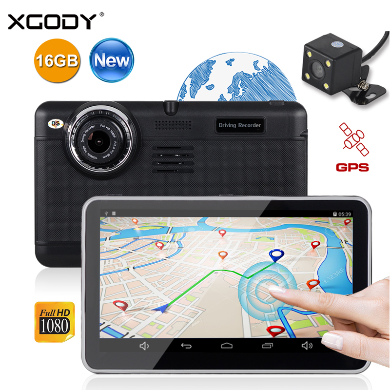 XGODY 7 Inch Car DVR GPS Navigation Android 4.4 Dual Lens Dash Cam 16GB ROM Touch Screen Full HD 1080P WiFi FM Rear View Camera
