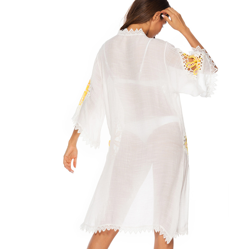 Women Swimsuit Cover Up 2019 Fashion Hollow Lace Stitching Loose Seven sleeve Beach Sunscreen Medium length Blouse Beach Dress in Cover Ups from Sports Entertainment