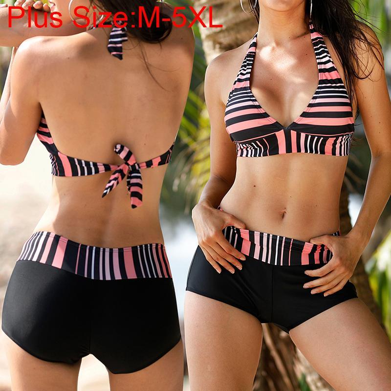 Dragonpad Women Split Stripe Print Flexible Boxer Swimsuit Swimwear Women Bikini 2019