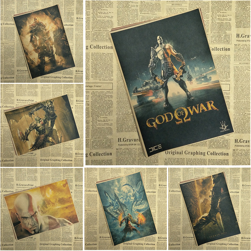 God of War Classic Game Kraft Paper Poster Bar Cafe Living Room Dining room Wall