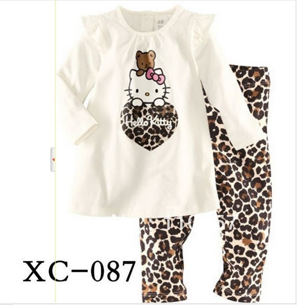 free ship baby kids girls children clothing helli kitty cubs leopard