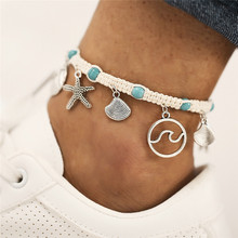 Summer Beads Silver Starfish Shell Wave Anklet White Rope Inlay Blue Natural Stone For Women Vacation Gift