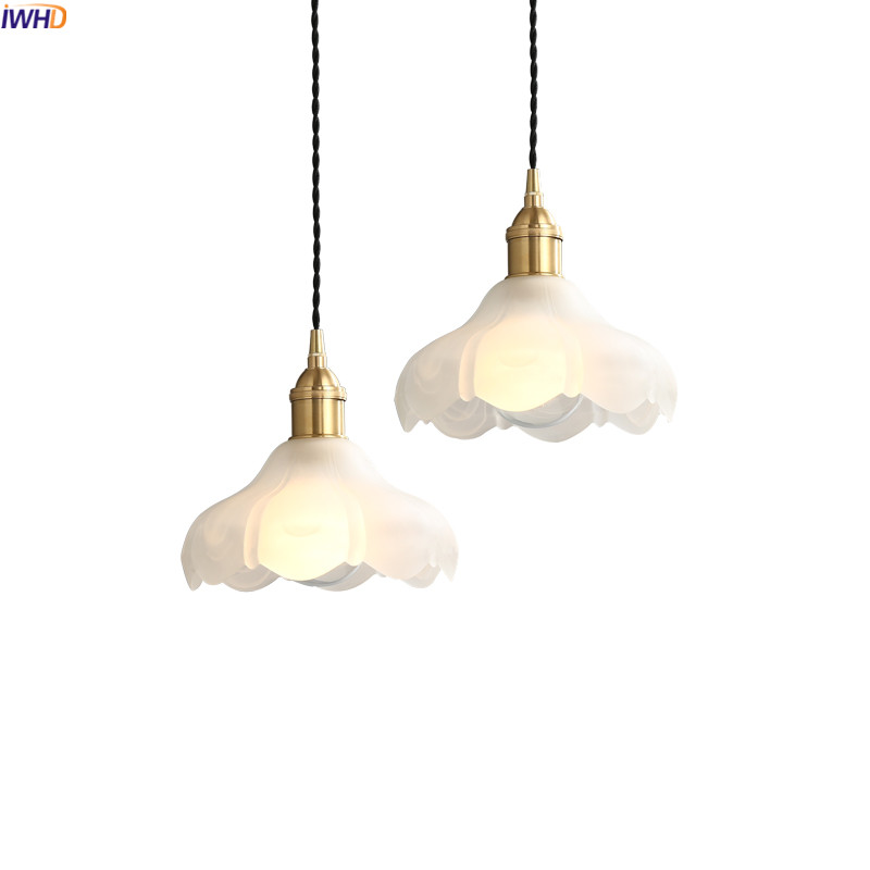 IWHD Nordic Copper LED Pendant Light Fixtures Dinning Living Room Hanging Lights White Glass Vintage Pendant Lamps Hanglampen