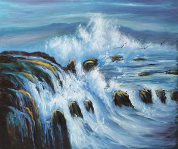 Beautiful Seascape Oil Painting Modern Canvas Wall Art Painting for Home Decor Threatening Tides Hand Painted High Quality