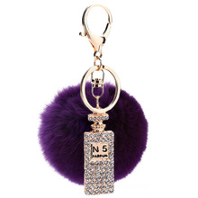 2016 Fluffy Ball Faux Fur Pompom Key Chains Rhinestone Keychains Ladies Perfume Bottle Keychain Custom Gifts Hair Ball Ornaments