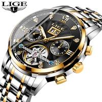 LIGE Mens Mechanical Watch Stainless Steel Waterproof Diamond Mechanical Watch Business Waterproof Wristwatch Relogio Masculino