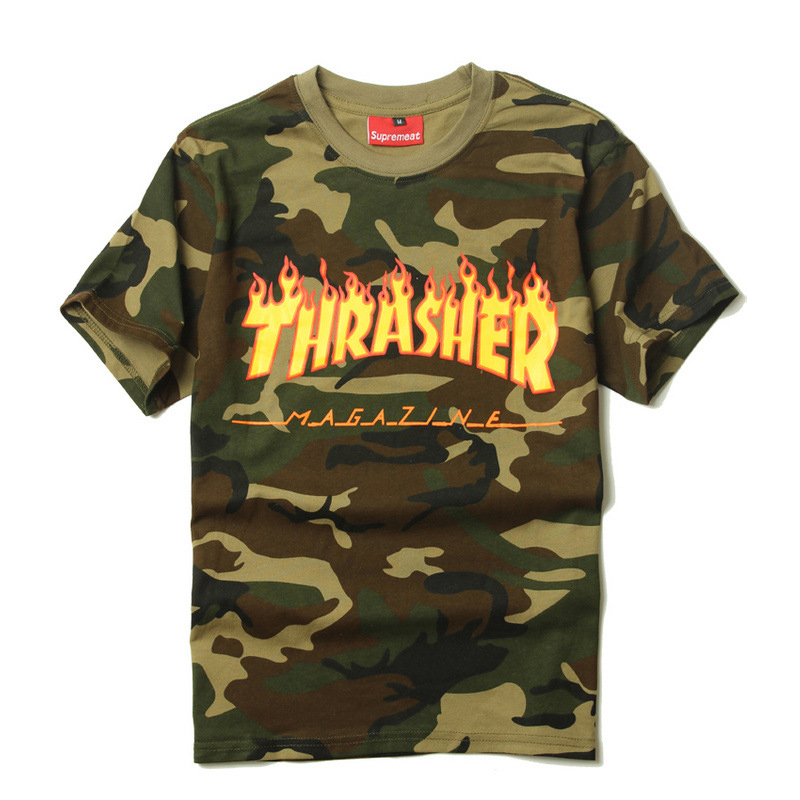 Thrasher Hip Hop T shirt Men Camouflage 2017 Casual Skateboard Tide Flame Print Short Sleeve Military