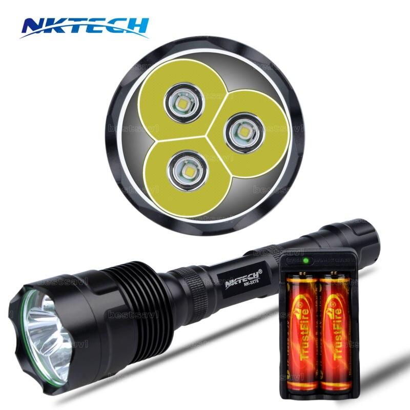 NKTECH Super Bright NK-3XT6 3x Bulb  XM-L XML T6 LED 3800LM 3800 Lumens 5 Modes Flashlights outdoorTorch+18650 Battery+Charger nktech super bright nk 3xt6 3x bulb xm l xml t6 led 3800lm 3800 lumens 5 modes flashlights outdoor torch