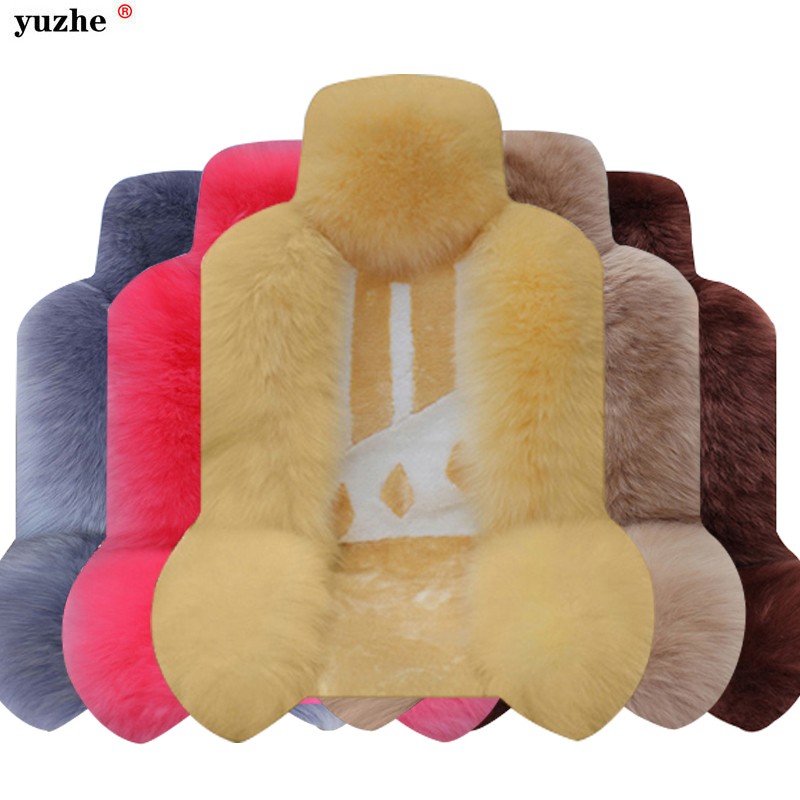 Yuzhe Universal 1pcs Long Wool Car Seat Covers Sheepskin Fur Pulvinis Winter Warm Plush Cushion 1 Piece Front Seat Cover Mats kawosen 2 pcs australian sheepskin fur seat cover super warm universal car seat cover 1 pair wool car seat covers cushion wscp02