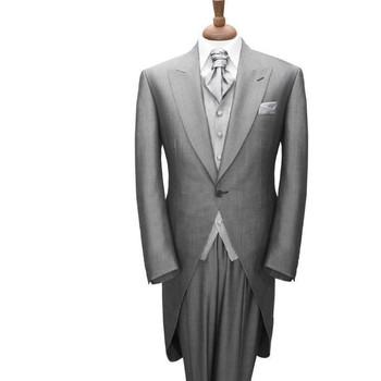 Custom Made New Mens Blazers Suits Groom Tuxedos Formal Occasion Business Suits Light gray men's tuxedo (jacket + pants + vest)