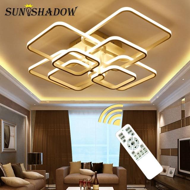 Square Rings Modern LED Chandelier For Living room Bedroom Dining room White&Black Body Led Ceiling Chandelier Lighting Fixtures