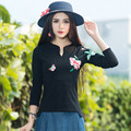 New Vintage Slim Top Autumn Spring Irregular Hem Long Sleeve Casual Pullover Embroidery T Shirt For Womens