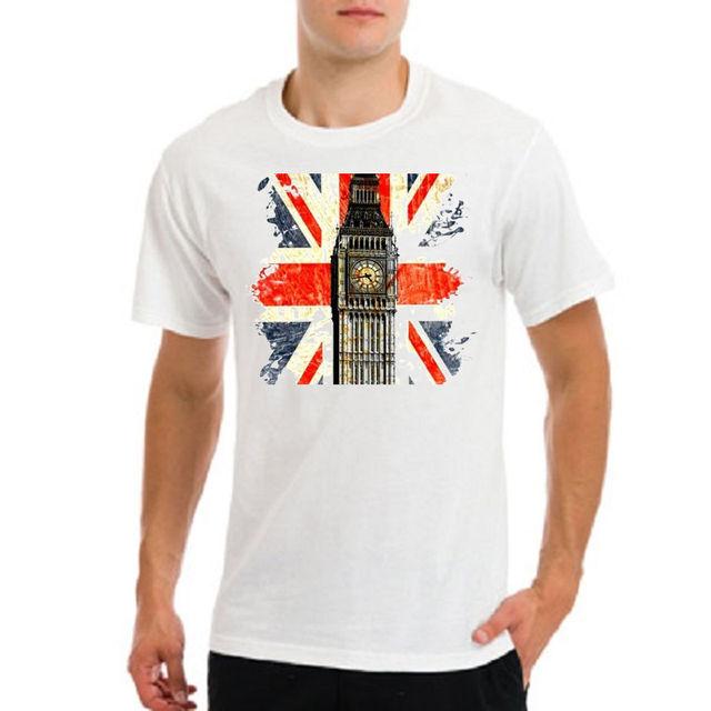 d54654382 UNION JACK UK british flag united kingdom london big ben white t-shirt New T  Shirts Funny Tops Tee New Unisex Funny Tops