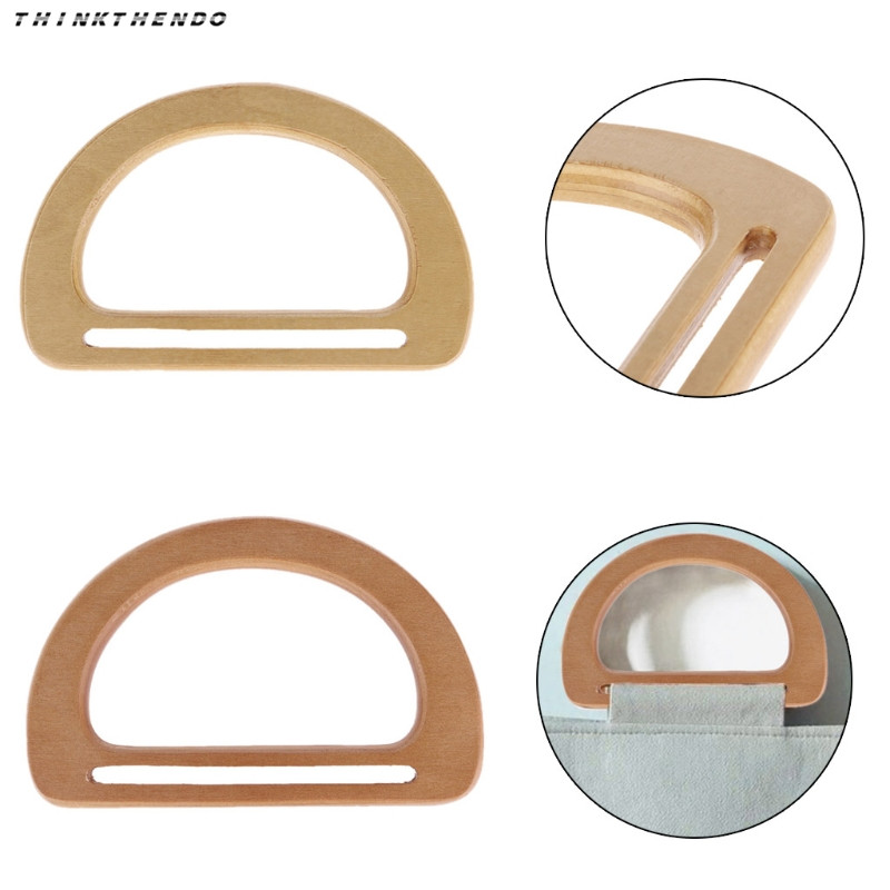 THINKTHENDO Hot New 1 Pc Wooden Bag Handle Replacement For DIY Purse Making Handbag Shopping Tote High Quality