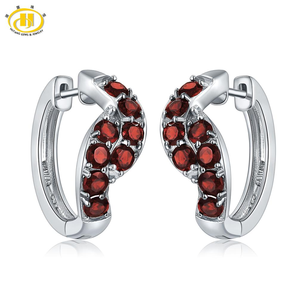 Hutang Hoop Earrings 2 24ct Natural Gemstone Red Garnet 925 Sterling Silver Fine Fashion Elegant Jewelry