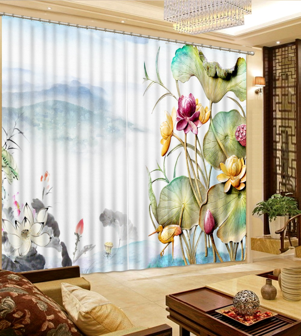 beautiful living room curtains 3d curtains Landscape painting lotus ...