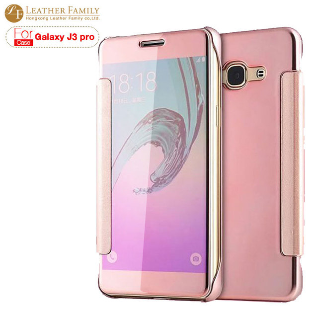 official photos 532c5 14380 US $9.99 |For samsung galaxy j3 pro case Original Luxury Transparent View  Mirror Flip Case Cover for Galaxy j3 pro Protective Phone shell on ...