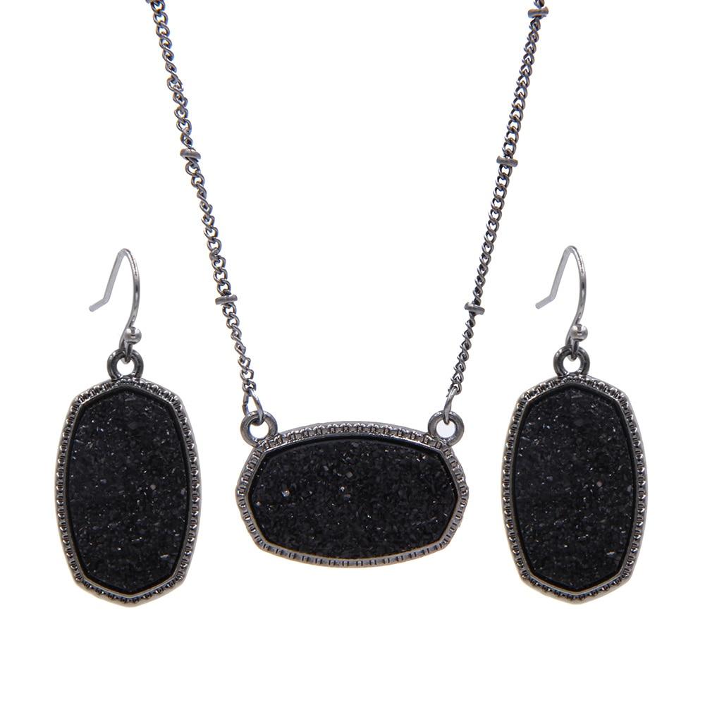 98c00a72a74e YJX negro Mini iridiscente Drusy Druzy Oval collares pendientes con los  pendientes de gota del Boutique
