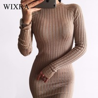 Wixra Warm And Charm Women Sweater Dress 2017 Fall Winter Long Sexy Lurex Bodycon Dresses Elastic