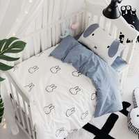 Nordic Style Baby Bed Set Bumpers Cotton Cartoon Rabbit Baby Quilt Cover Cot Sheet Pillowcase Newborn Baby Bed Bumper Bedding