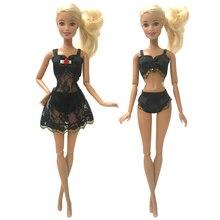 Underwear Dress Lace Barbie-Dolls-Accessories Black Bra Cloth for Gift One-Set Pajamas