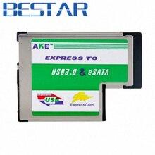 Express Card ExpressCard 54 34 34mm/54mm to USB 3.0 USB3.0 Super Speed 5Gbps & eSata hard disk Adapter
