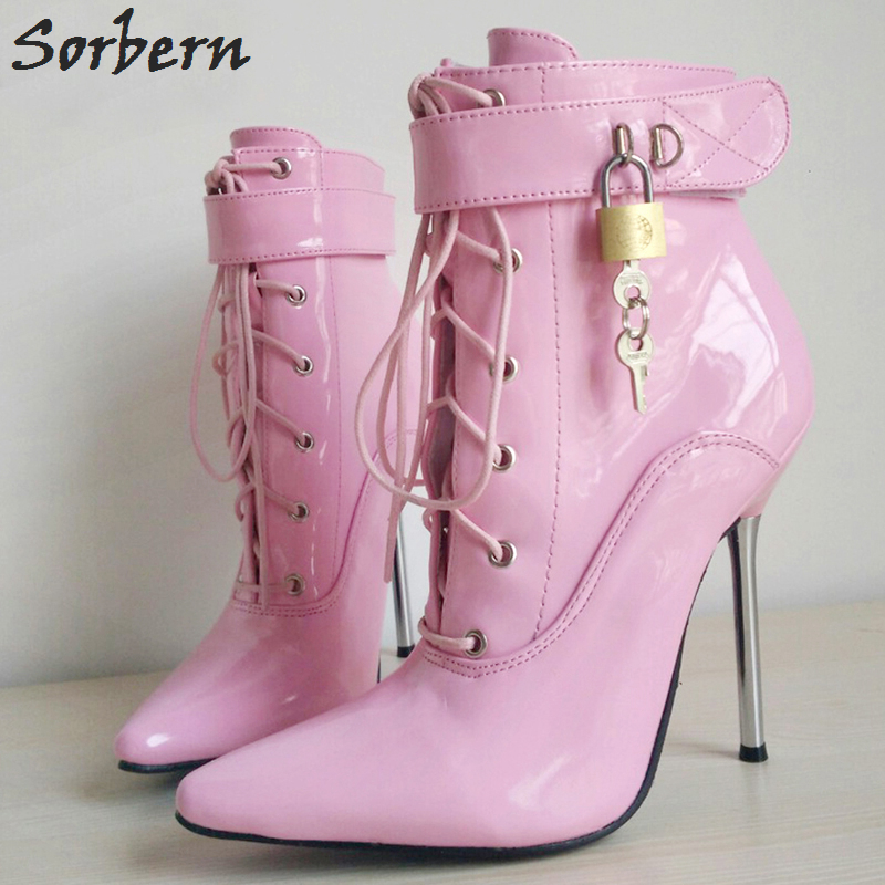 Sorbern 2018 Woman Boots Sexy Pointed Toe 12CM Metal Thin High Heel Ladey Cross-Tied Ankle Strap Fetish Padlocks Lockable Shoes цена