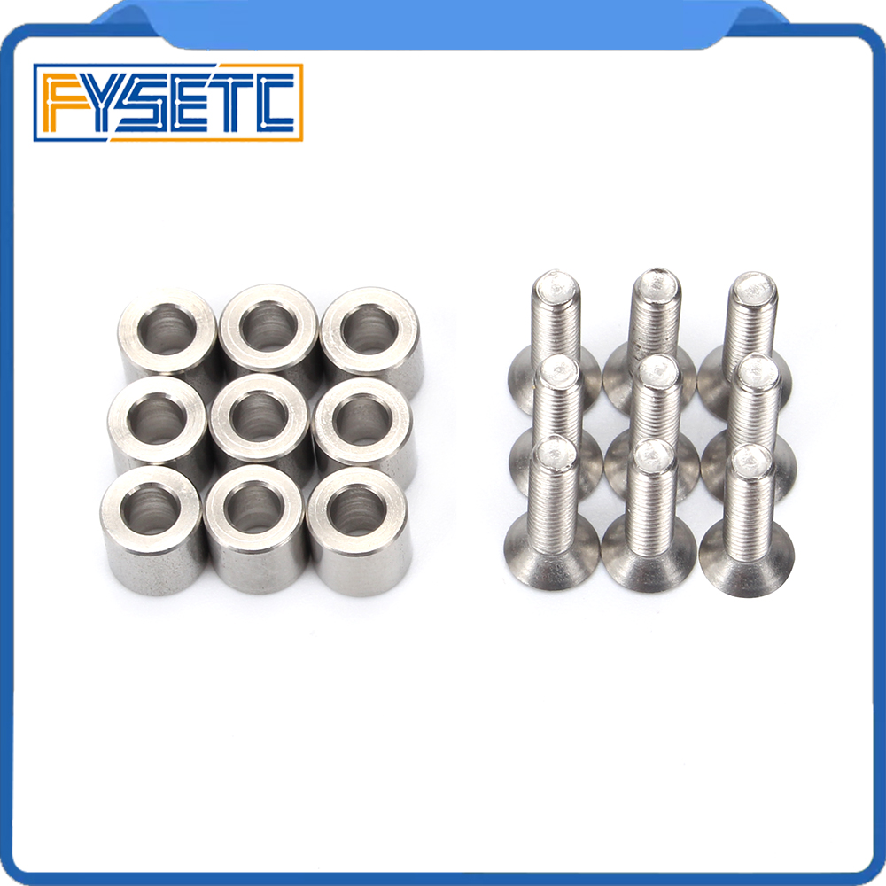 цена 1Set /9pcs 6x6x3mm Aluminum Spacer With 9pcs M3 Screws And Wrench As Gift For Prusa MK3 Heated Bed 6x6x3t Spacer