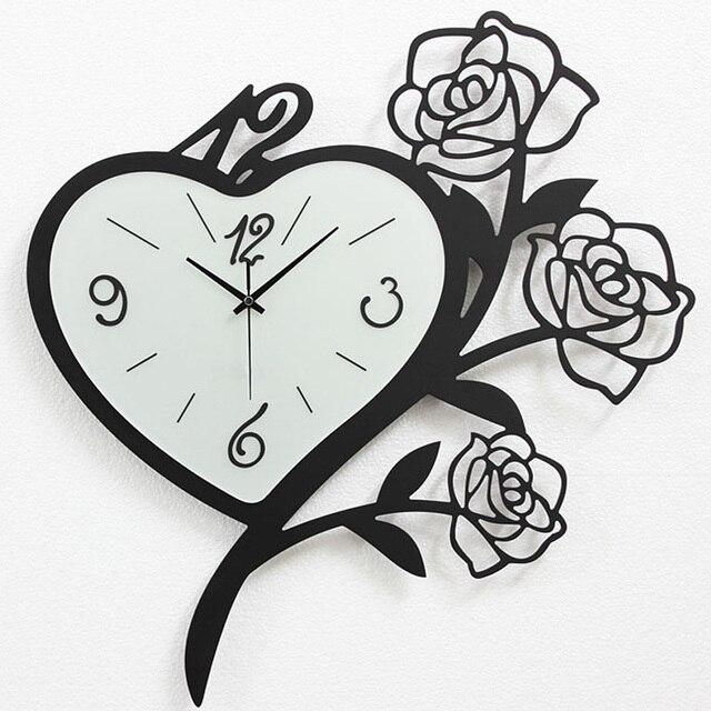 Creative fashion minimalist living room large wall clock mute quartz table clock wall clock Modern clocks hanging flower table