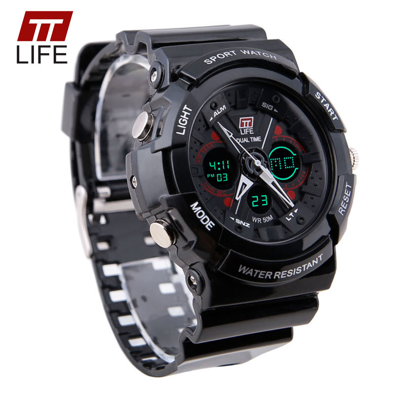 TTLIFE Brand Large Dial Face Mens Wristwatches Digital Swimming Climbing PU Shell 50M Water Resistant Outdoor