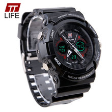 TTLIFE Brand Large Dial Face Mens Wristwatches Digital Swimming Climbing PU Shell 50M Water Resistant Outdoor Man Sports Watches