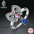 VOROCO Genuine 925 Sterling Silver Pink & Blue Clearly CZ, Bowknot Finger Ring Women and Girl Fashion Jewelry R014