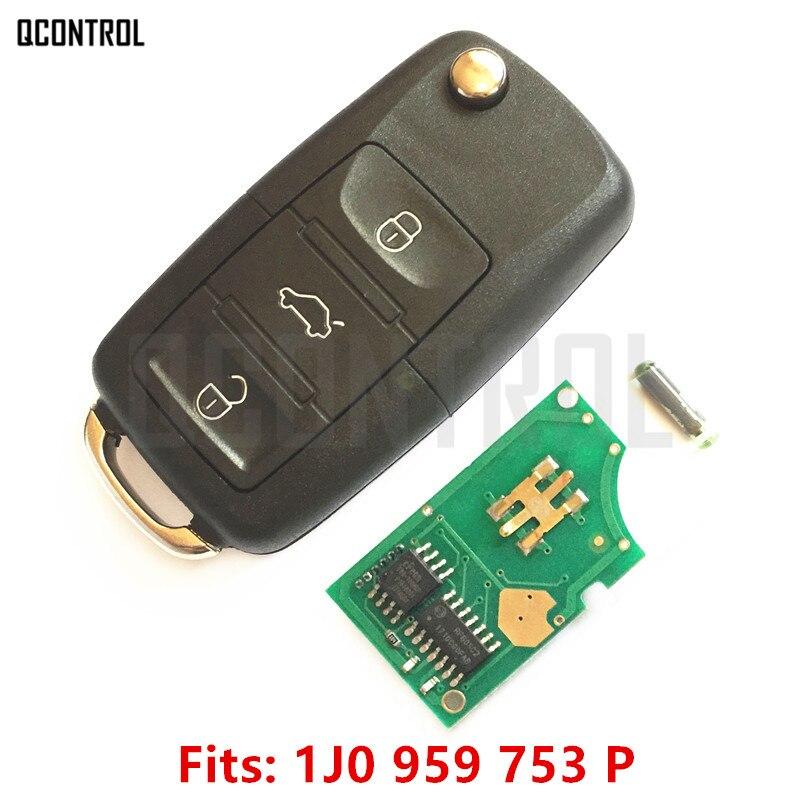 QCONTROL Autofernschlüssel DIY für VW/VOLKSWAGEN Beetle/Jetta/Golf/Passat 1J0959753P/5FA009259-55 HLO 1J0 959 753 P 2002-2005