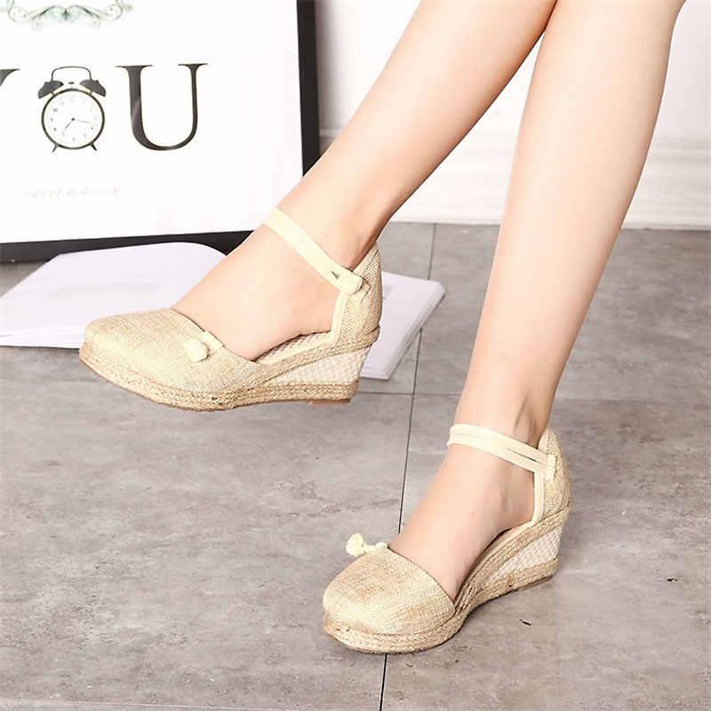 7bd1a0437d2 ... 2019 Vintage Women Sandals Casual Linen Canvas Wedge Sandals Summer  Ankle Strap Med Heel Platform Pump ...