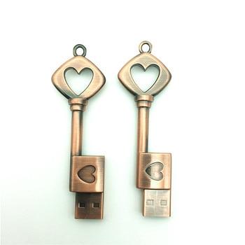 Heart Key USB Flash Drive 4GB 8GB 16GB 32GB 64GB Pendrive Memory Stick usb Stick Pen drive Waterproof metal key ring U disk gift