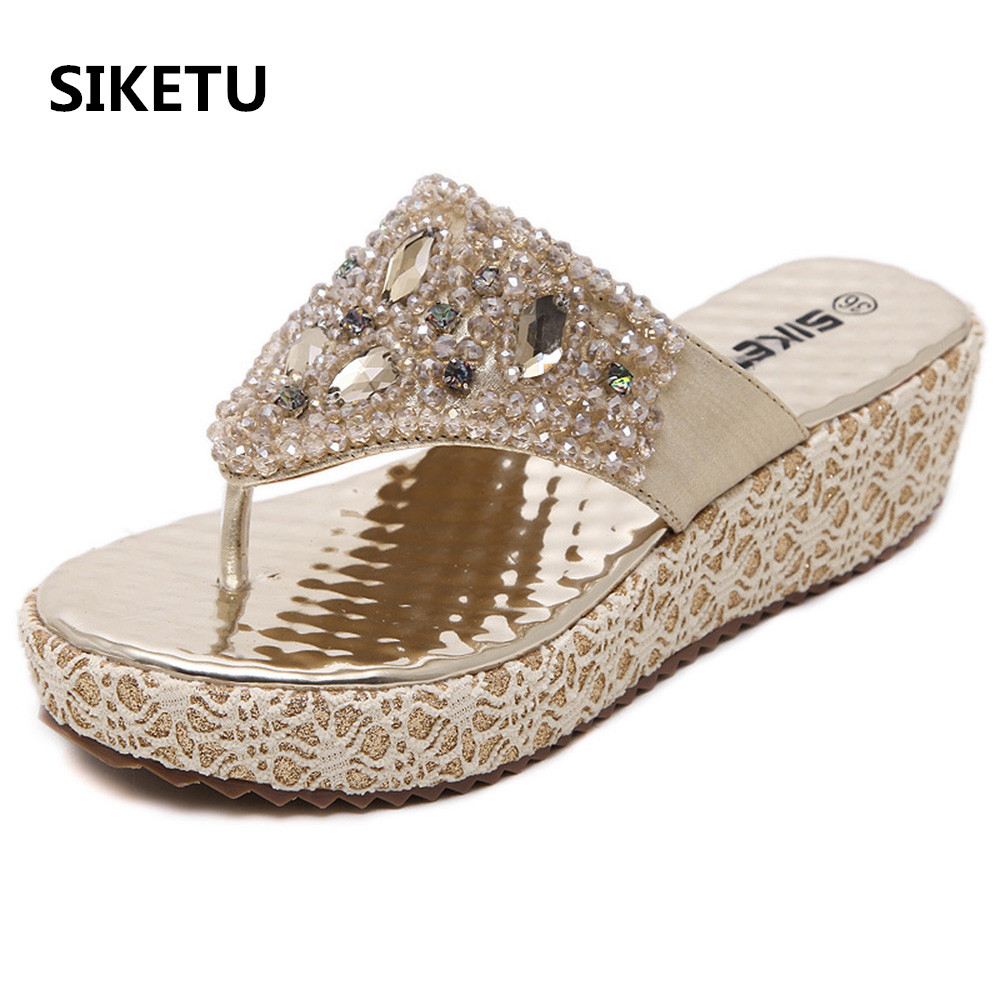 Women's sandals with bling - Women 2017 Newest Summer Bohemia Flip Flops Hot Selling Wedge Sandals Beaded Rhinestone Big Size 40