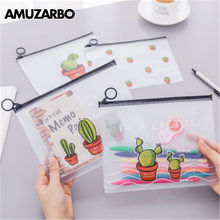 1 PCS Cute Cactus PVC Waterproof Pencil Cases Transparent Stationery A5 File Folder Storage Office School Supplies Pencil Bags(China)