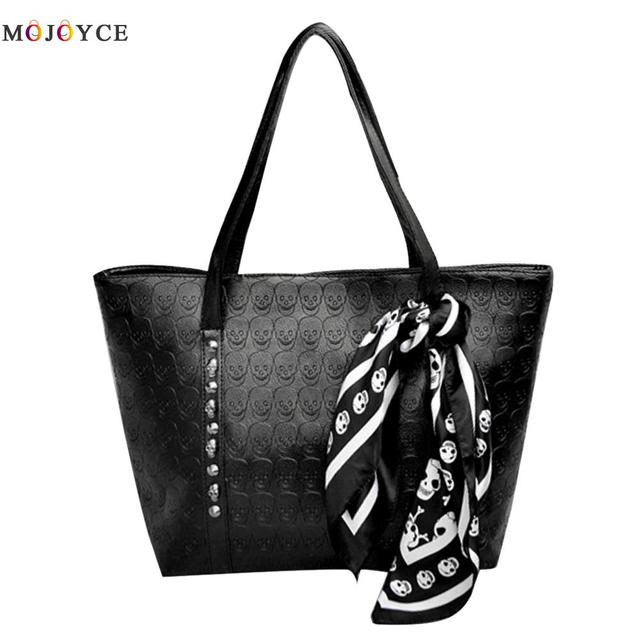 2017 New Fashion Women Skull Shoulder Bag Leather Female Solid Punk Shoulder Bag soft Handbags Black Large Ladies Tote Bag