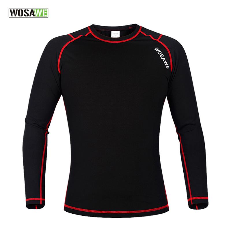 WOSAWE Mens Winter Warm Fleece Base Layer Sports Underwear Riding Cycling Undershirt Long Sleeve Jersey