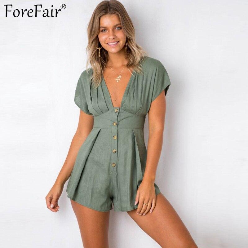 e2c93594e9c ForeFair Sexy Deep-V Neck Front Button Jumpsuit Elegant Ruched Linen Romper  Women