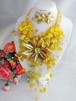 Wedding Flower Jewelry Set Perfect African Yellow Shell Beads Flower Necklace Earring For Party Birthday Jewelry