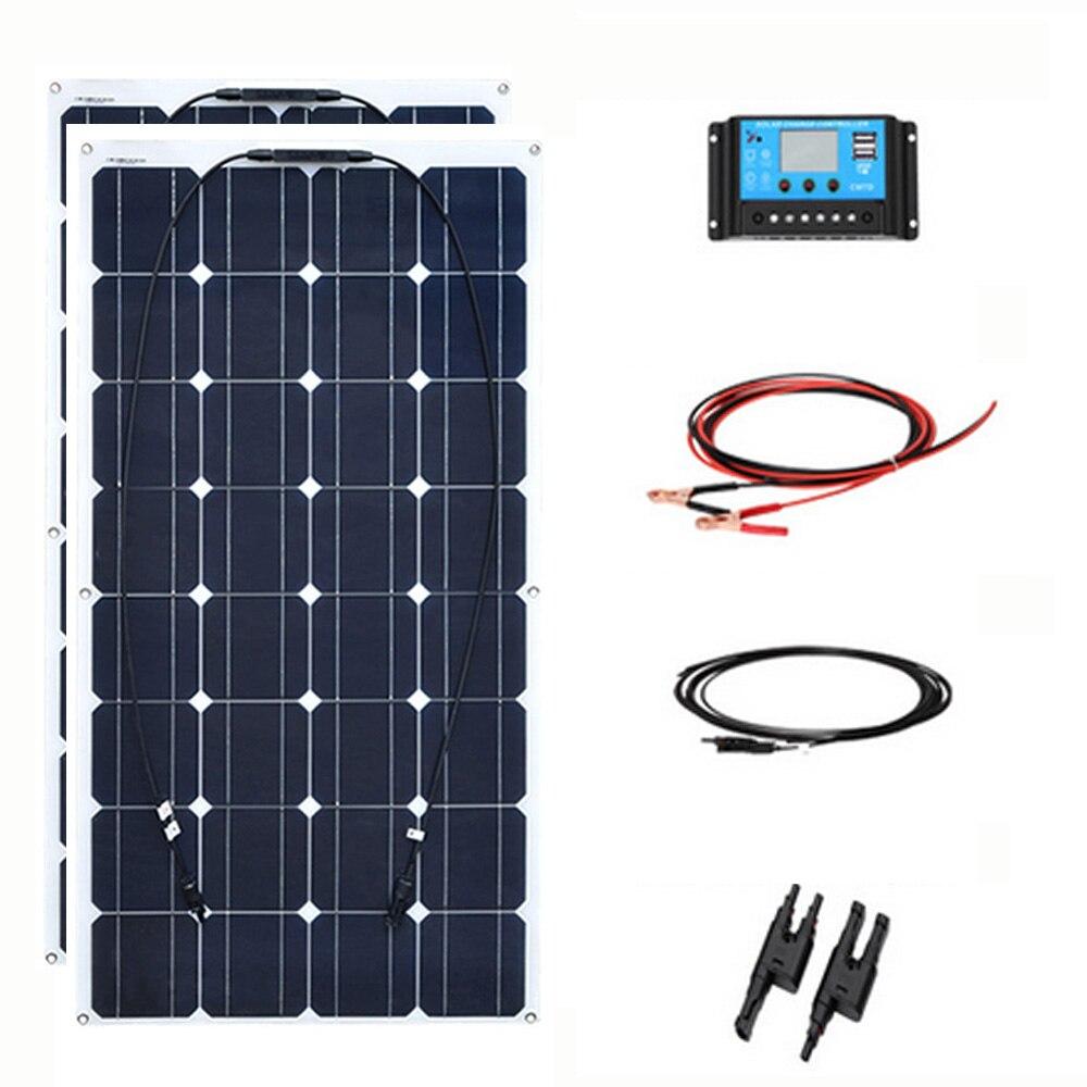 2 pz 100 w 200 w Flessibile Pannello Solare Cellulare Modulo di Sistema di Auto CAMPER Marine Uso Domestico 12 v /24 v Kit FAI DA TE Pannelli Solari painel