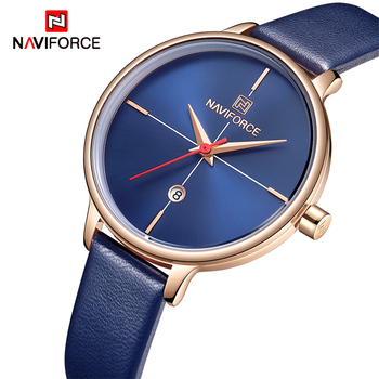 NAVIFORCE 5006 Fashion Luxury Women Watches Lady Casual Quartz Watch Classic Simple Style PU Watchband Wrist Watch with box