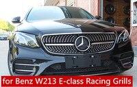 for Benz W213 E class E200 E260 E300 E320 E350 Grill Grille Mercedes W213 Diamond Style Front Racing Grill Grille 2016 2019