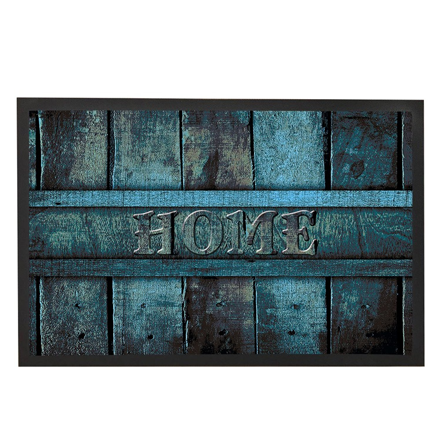 Antique Teal Blue Wood Decor Door Mats Front Floor Mat