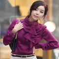 Новое поступление 2015 мода дамы OL стиль Boho шифон длинный рукав пневматический тонкая талия викторианской оборками работать носить рубашки блузка топы