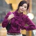 New Arrival 2015 Fashion Ladies OL Style Boho Chiffon Long Puff Sleeve Slim Waist Victorian Ruffles Work Wear Shirts Blouse Tops